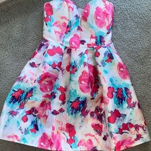 Short Strapless Dress (Pink Blue & Purple)